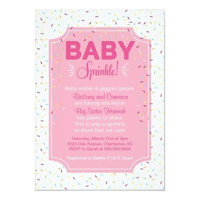 Cute Baby Girl Sprinkle Invitations