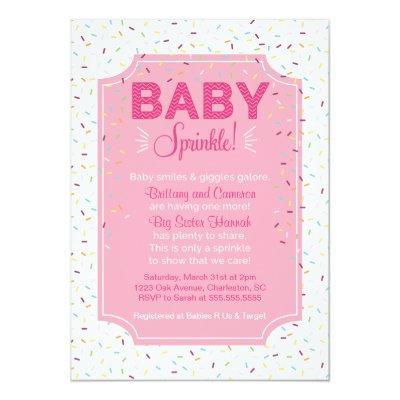 Cute Baby Girl Sprinkle Invitations