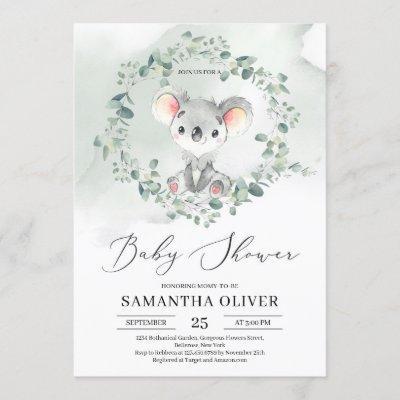 Cute baby koala green eucalyptus Baby Shower Invitation
