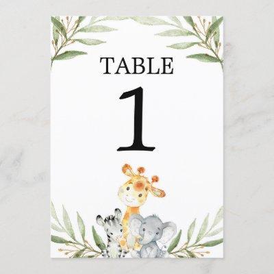 "Cute baby safari animals 5""x7"" table numbers"