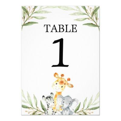 "Cute baby safari animals 5""x7"" table numbers"
