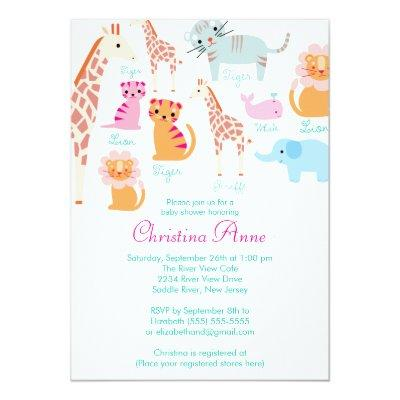 Cute Baby Safari Animals Baby Shower Invitations