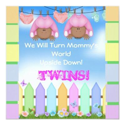 CUTE BABY SHOWER AFRICAN AMERICAN TWIN GIRLS Invitations