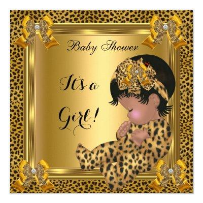 Cute Baby Shower Baby Girl Leopard Gold Invitation