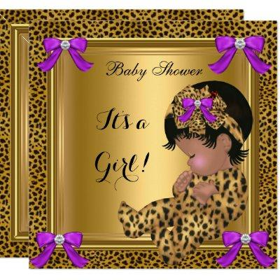 Cute Baby Shower Baby Girl Leopard Purple Gold 4 Invitations