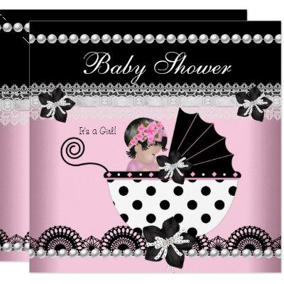 Cute Baby Shower Baby Girl Pink Black Pearl Invitation