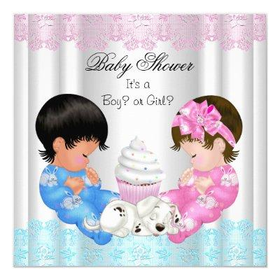 Cute Baby Shower Gender Reveal Couples Invitation