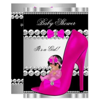 Cute Baby Shower Girl Hot Pink Baby in Shoe Invitation