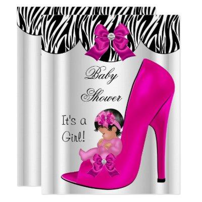 Cute Baby Shower Girl Hot Pink Baby Shoe Invitation