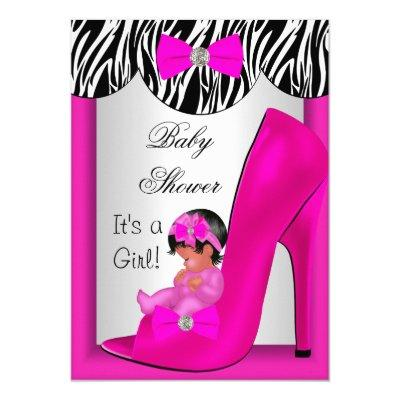 Cute Baby Shower Girl Hot Pink Ethnic Baby Shoe 2E Invitations