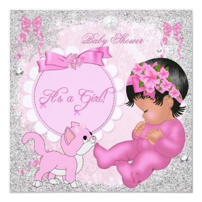 Cute Baby Shower Girl Kitten Pink Snowflakes Invitations