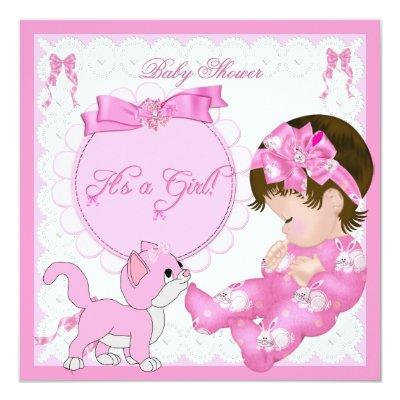 Cute Baby Shower Girl Kitten Pink White Invitation