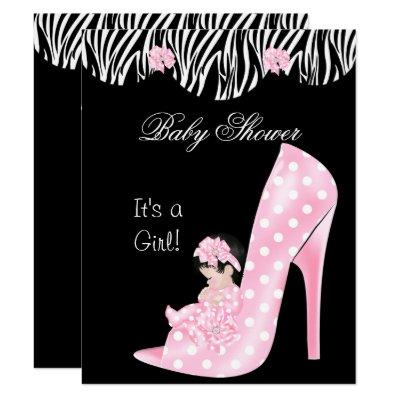 Cute Baby Shower Girl Pink Baby in Shoe Invitation