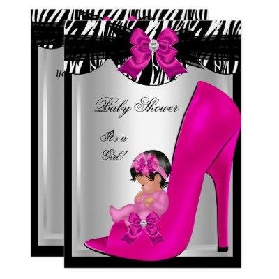 Cute Baby Shower Girl Zebra Hot Pink Baby Shoe Invitations