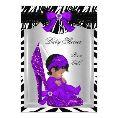 Cute Girl Zebra Purple Baby Shoe 2 Invitations