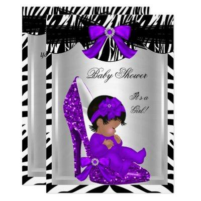 Cute Baby Shower Girl Zebra Purple Baby Shoe 2 Invitations