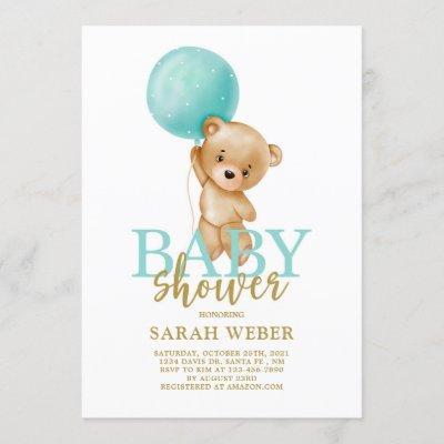 Cute bear balloon baby shower boy invitation