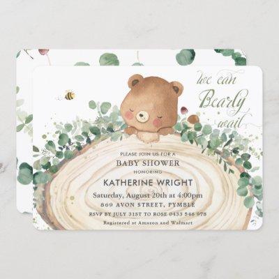 Cute Bear Greenery Gender Neutral Baby Shower Invi Invitation