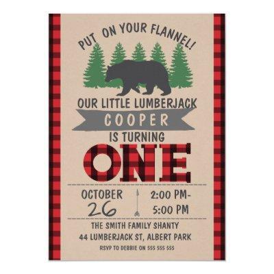 Cute Bear Lumberjack 1st Birthday Invitations