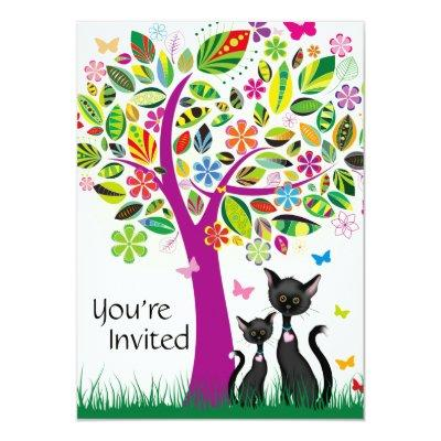 Cute Black Cats and Flower Tree Baby Shower Invitations