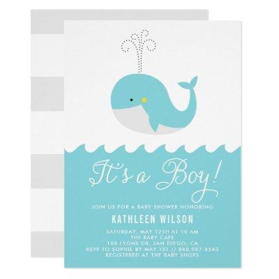 Cute Blue Baby Whale It's a Boy Invitations