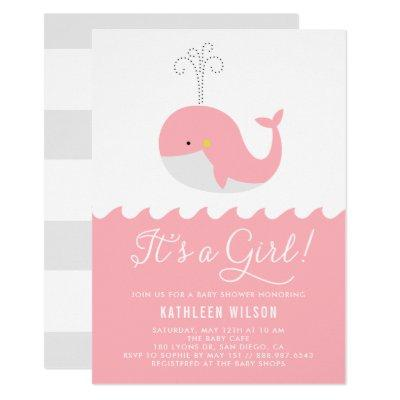 Cute Blue Baby Whale It's a Girl Baby Shower Invitation