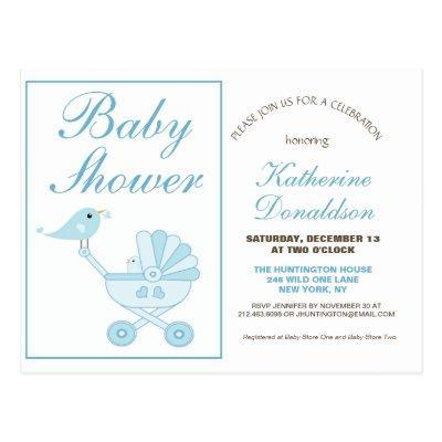 Cute Blue Boy Baby Shower Invitation Postcard