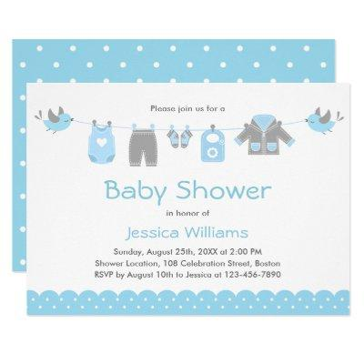 Cute Blue Clothes | Boy Baby Shower Invitation