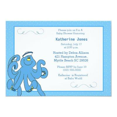 Cute Blue Octopus Baby Shower Invitation