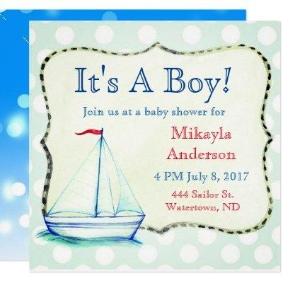 Cute Blue Sailboat Nautical Baby Shower Invitations