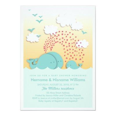 Cute Blue Whales Couples Invite