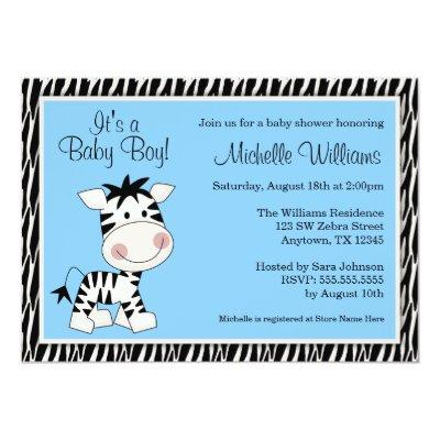 Cute Blue Zebra Boy Baby Shower Invitations