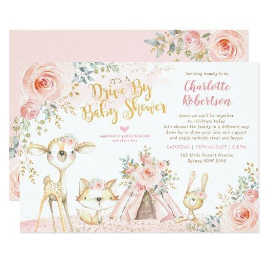 Cute Boho Woodland Drive By Girl Baby Shower Invitation