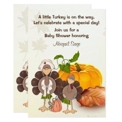 Cute Boy Turkey Thanksgiving Baby Shower Invite
