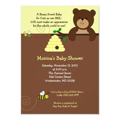 Cute Brown Bear and Honey Bee Baby Shower 4x6 Invitations