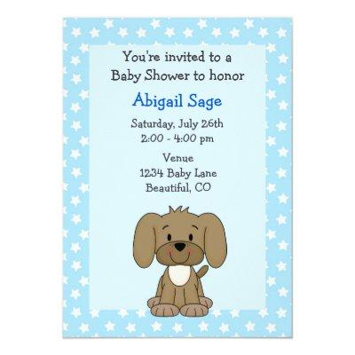 Cute Brown Puppy Dog Blue Baby Boy Shower Invitations