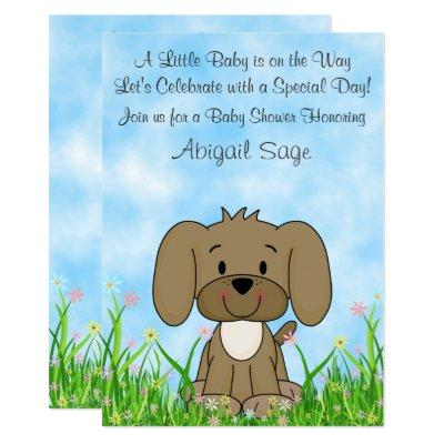 Cute Brown Puppy Dog n Flowers Baby Shower Invite
