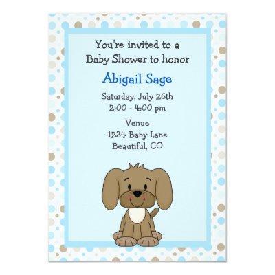 Cute Brown Puppy Dog on Blue Boys Invitations
