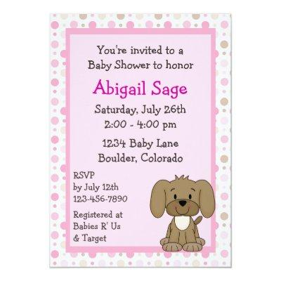 Cute Brown Puppy Dog Pink Girls Invitations