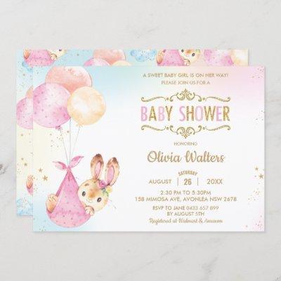 Cute Bunny Rabbit Balloons Baby Shower Girl Invitation