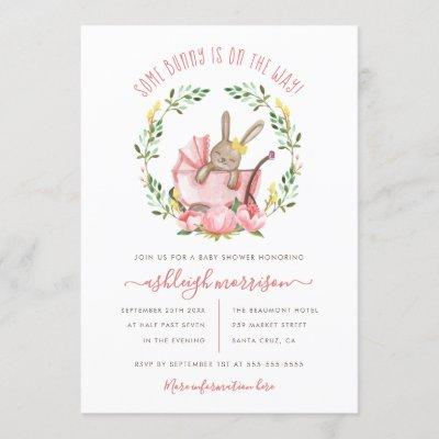 Cute Bunny & Watercolor Flowers Girl Baby Shower Invitation