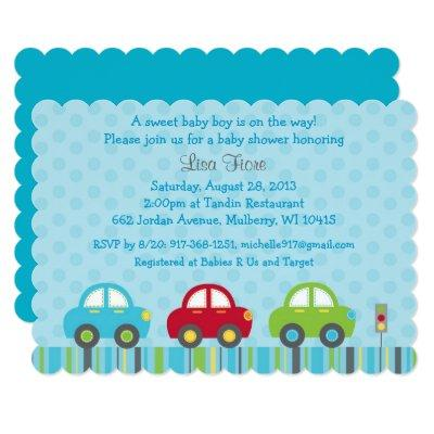 Cute Car Baby Shower Invitations