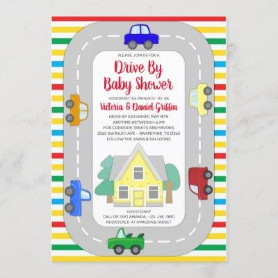 Cute Cars Trucks Drive By Baby Shower Invitation