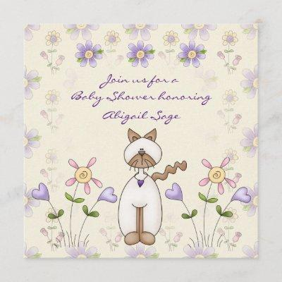 Cute Cat and Flowers Baby Shower Invitation