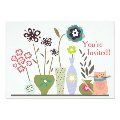 Cute Cat and Potted Flowers Baby Shower Invitations