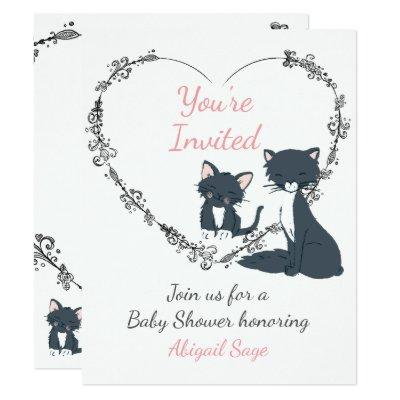 Cute Cat, Kitten and Flower Heart Baby Shower Invitation