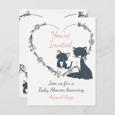 Cute Cat, Kitten and Flower Heart Baby Shower Invitation