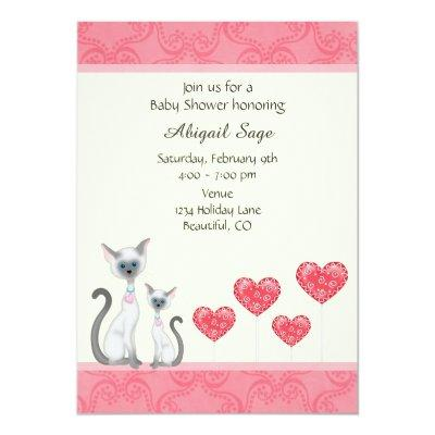 Cute Cat, Kitten and Hearts Baby Shower Invitations