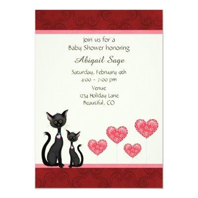 Cute Cat, Kitten and Hearts Invitations