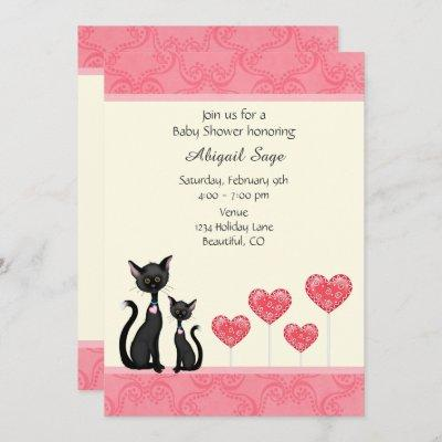 Cute Cat, Kitten and Hearts Baby Shower Invitation